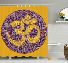 Dekoratif Mozaik Mandala Desenli Duş Perdesi Mor