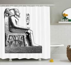 Oturan Antik Mısır Heykeli Duş Perdesi Hiyeroglifli