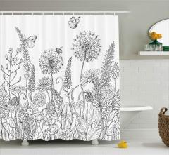 Kelebekler ve Kır Çiçekleri Duş Perdesi Siyah Beyaz