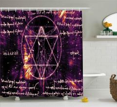 Pentagram ve İnsan Desenli Duş Perdesi Ezoterik