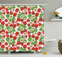 Çilekler ve Çiçekler Duş Perdesi Kırmızı Yeşil