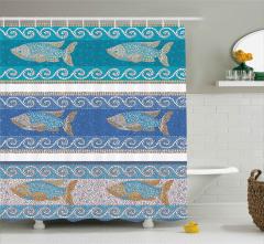 Mozaik Balık Desenli Duş Perdesi Dekoratif