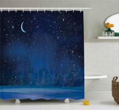 Karlı Bir Kış Gecesi Duş Perdesi Sanatsal
