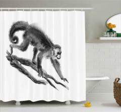 Sanatsal Maymun Desenli Duş Perdesi Siyah Beyaz