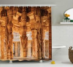 Antik Figürlü Sütunlar Duş Perdesi Dekoratif