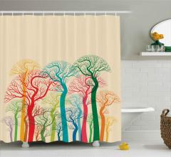 Rengarenk Ağaçlar ve Dalları Duş Perdesi Dekoratif