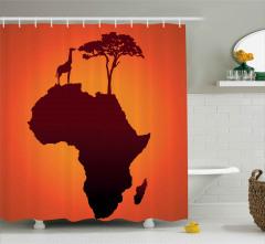 Afrika Zürafa ve Ağaç Duş Perdesi Kahverengi