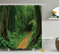 Yemyeşil Orman Yolu Duş Perdesi Doğa