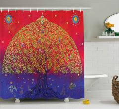 Mistik Ağaç ve Kuşlar Duş Perdesi Sanatsal