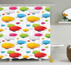Rengarenk Zeplin Desenli Duş Perdesi Dekoratif