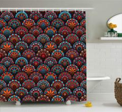 Dairesel Mozaik Desenli Duş Perdesi Rengarenk