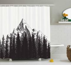 Kayalık Dağ Zirvesi Desenli Duş Perdesi Ağaçlar
