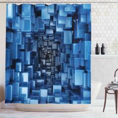 Mavi Bloklar Duş Perdesi Üç Boyutlu Efektli