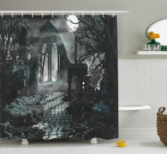 Taş Yol ve Antik Yıkıntı Duş Perdesi Gotik