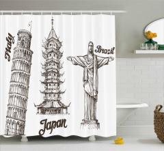 Antik Kuleler Duş Perdesi İtalya Japonya Brezilya
