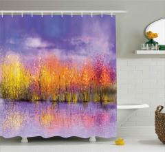 Sarı Pembe Ağaçlar Desenli Duş Perdesi Göl