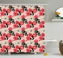 Pembe Siyah Çiçekler Duş Perdesi Şık Çeyizlik