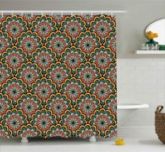Pervane Formlu Çiçek Desenli Duş Perdesi Dekoratif