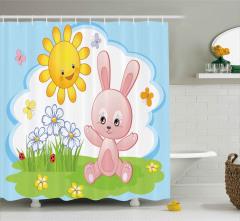 Tavşan ve Güneşin Arkadaşlığı Duş Perdesi Sevimli