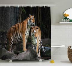 Ormandaki Kaplan Çifti Duş Perdesi Vahşi Yaşam