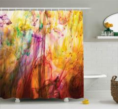 Suya Karışan Rengarenk Boyalar Duş Perdesi Dekoratif