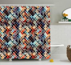 Diyagonal Puantiyeli Şal Desenli Duş Perdesi Şık