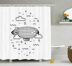 Zeplin ve Bulutlar Duş Perdesi Siyah Beyaz