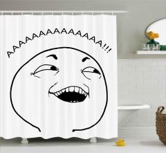 Balon Kafalı Adamın Şaşkınlığı Duş Perdesi Aaa