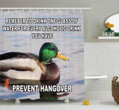 Yeşil Başlı Ördek(Kelimede harf hatası) Duş Perdesi İngilizce Mesajlı