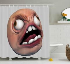 Beyaz Dişli Amorf Canavar Duş Perdesi 3D Efektli