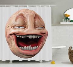 Burunsuz Uzaylının Kahkahası Duş Perdesi 3D Efektli