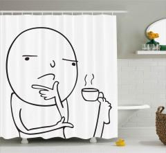 Ayağıyla Kahve İçen Adam Duş Perdesi Karikatür