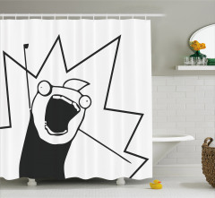 Punkçı Holigan Desenli Duş Perdesi Karikatür