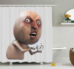 Kızgın Yüz İfadeli Adam Duş Perdesi Çalar Saatli