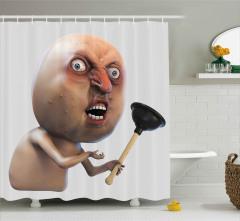 Kızgın Yüzlü Adam Desenli Duş Perdesi 3D Efektli