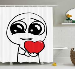 Aşık Adam ve Kalp Duş Perdesi Karikatür