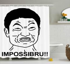 İmkansız Diyen Japon Desenli Duş Perdesi Karikatür