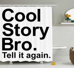 Havalı Hikaye Kardeşim Duş Perdesi Siyah Beyaz