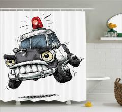 Kızgın Polis Arabası Duş Perdesi Karikatür