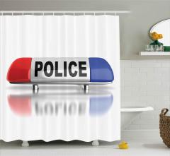 Polis Arabasının Lambası Duş Perdesi Dekoratif