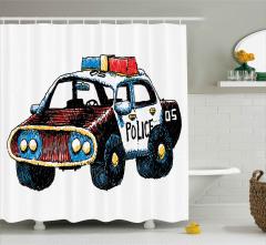 El Çizimi Polis Arabası Duş Perdesi Asimetrik