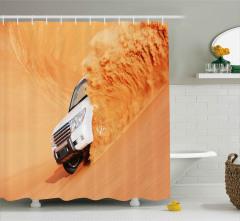 Çölde Ciple Gezinti Duş Perdesi Dekoratif