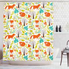 Kızıl Tilki ve Ağaç Desenli Duş Perdesi Dekoratif