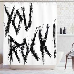 Rock Müzik Desenli Duş Perdesi Dekoratif