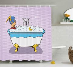 Maskeli Kahraman Banyoda Desenli Duş Perdesi Pop Art
