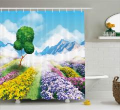Çiçek Tarlaları ve Ağaç Duş Perdesi Dekoratif