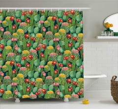 Rengarenk Çiçekli Kaktüsler Duş Perdesi Yeşil Doğa