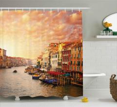Venedik'te Gün Batımı Desenli Duş Perdesi Romantik