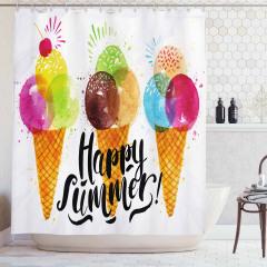 Dondurma Külahı Desenli Duş Perdesi Mutlu Yaz