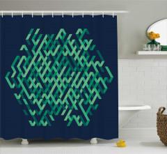 Geometrik Soyut Desenli Duş Perdesi Şık Tasarım